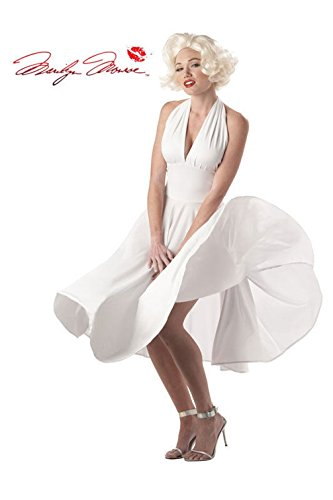 [Mememall Fashion Sexy Marilyn Monroe White Dress Adult Halloween Costume] (Marilyn Monroe Deluxe Adult Costumes)