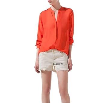 Collar Button Down Shirt at Amazon Women's Clothing store: Blusas