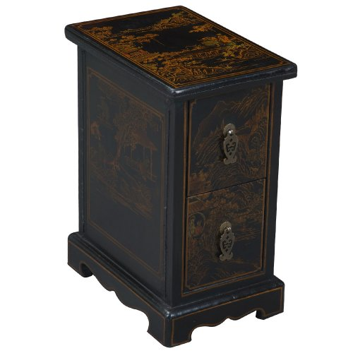 Cheap EXP Handmade Oriental Furniture – 19″ Antique Style Black Leather End Table – Oriental Heirloom (B0027WCN9U)