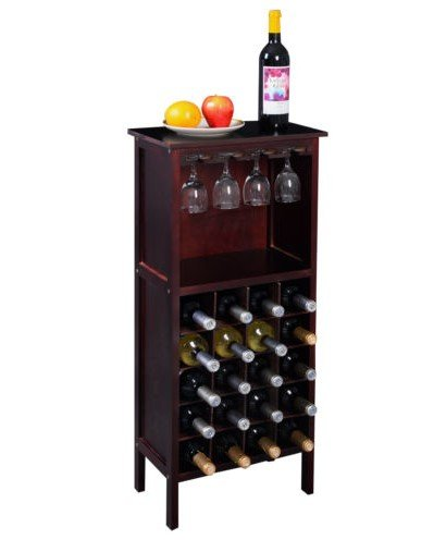 Wood Wine Holder - Wood Wine Cabinet Bottle Holder Storage Kitchen Home Bar w/ Glass Rack Wine Bottle Holder (Wooden Wine Rack Free Standing compare prices)