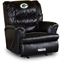 Buy NFL Green Bay Packers Big Daddy Black Leather Recliner by Imperial