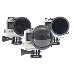 Polar Pro Three Pack (Polarizer, Neutral Density, Macro) For Hero4 and Hero3+ Standard Housing (40M)