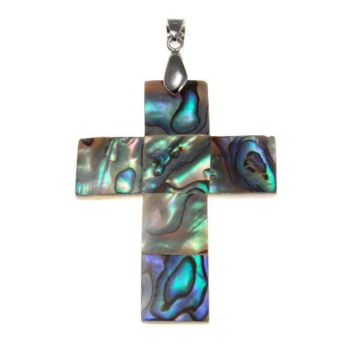 Large Abalone Cross Pendant
