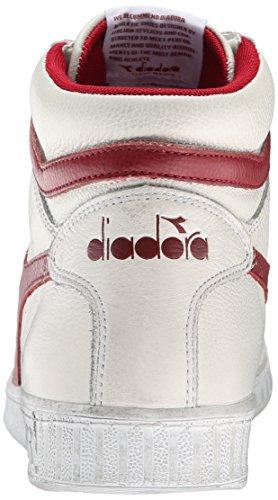Diadora Game L High Waxed Skate Shoe, White/Red Pepper, 8 M US