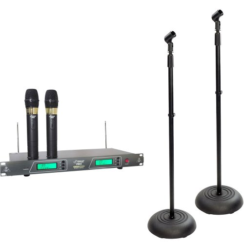 Pyle Dual Mic And Stand Package - Pdwm2550 19'' Rack Mount Dual Vhf Wireless Rechargeable Handheld Microphone System - 2X Pmks5 Pair Of Compact Base Black Microphone Stands