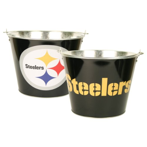 Pittsburgh Steelers Nfl Metal Logo Beer Bucket With Handle (Holds 6 Longneck Bottles With Ice) front-595254