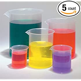 Plastic Beaker Set - 5 Sizes - 50, 100, 250, 500 and 1000ml