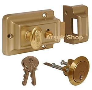 Rim Night Latch Front Door Lock And 3 Keys 60mm Backset
