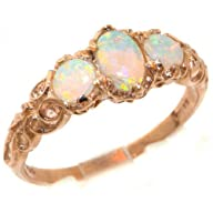Womens Solid 9K Rose Gold Natural Fiery Opal English Victorian Style Trilogy Ring – Finger Sizes 4…