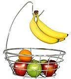 DecoBros Wire Fruit Tree Bowl with Banana Hanger, Chrome Finish