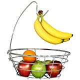 DecoBros Fruit bowl with a removable banana hanger provides a space saver to store your fruits in your kitchen.
