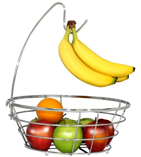 DecoBros Wire Fruit Tree Bowl with Banana Hanger, Chrome Finish (Fruit Tree Holder compare prices)