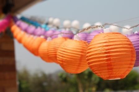 New Solar Powered 20 Led Orange Mini Round Paper Chinese Lantern Fairy Light String