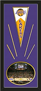 Los Angeles Lakers Wool Felt Mini Pennant & Staples Center 2009 Photo - Framed... by Art and More, Davenport, IA