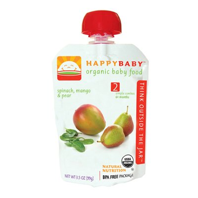 HappyBaby Organic Baby Food Stage 2 Meals Ages 6+ Months Spinach Mango and Pear - 3.5 Oz, Pack of 16