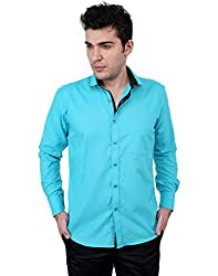 Zeal 100% Cotton Dark Turquoise-Black Casual-Formal Shirt
