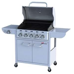 Barbecue grill à gaz Argenté - 5 +1 brûleurs - avec 4 roues et thermomètre - Adapté à l'Espagne, la Belgique, la France, l'Italie, les Pays-bas et l'Angleterre - type de construction testé par TÜV Rheinland