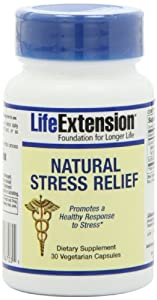 Life Extension Natural Stress Relief, Vegetarian Capsules, 30-Count