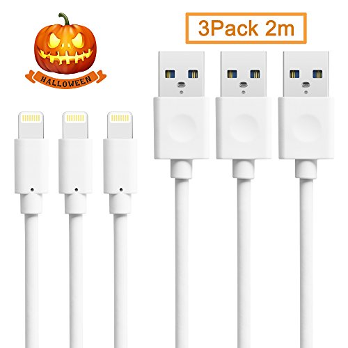 Quntis Lightning USB-Kabel lebenslange Garantie 2m für iPhone 6 plus 5S 6S 5, iPad Air 2, Mini 3, iPod 5.Generation und iPod Nano 7.Generation (3er Pack, Schneeweiß)