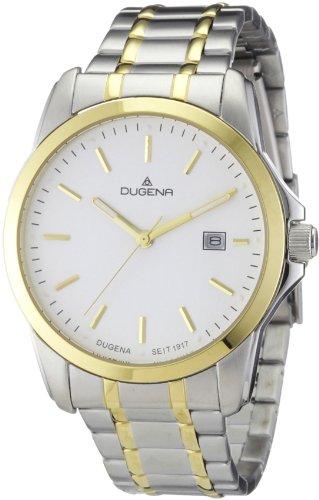 Dugena Dugena Basic 4460452 - Reloj analógico de cuarzo para hombre, correa de acero inoxidable color plateado