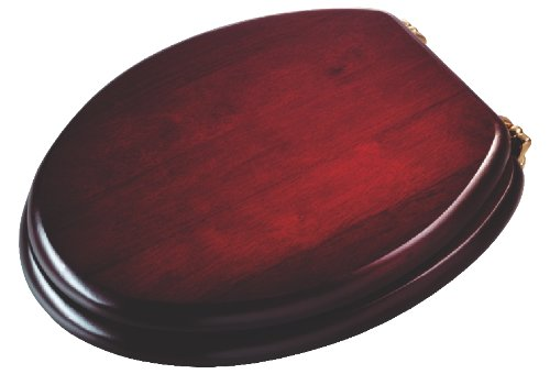 Croydex Solid Wood Toilet Seat, Mahogany - Chrome Fitting