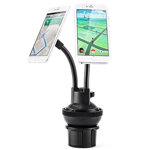 iKross 2-in-1auto doppio supporto tazza/Gel Pad cruscotto parabrezza supporto magnetica regolabile, kit da auto per Apple Iphone, Smartphone Android, GPS, navigatore satellitare, o lettori mp3, colore: nero
