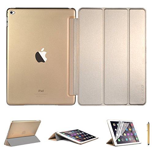 Swees® Apple iPad Air 2 Custodia in pelle Ultra sottile per Apple iPad Air 2 (2014 rilascio ottobre) Con Funzione Sleep/Wake + Pellicola Protettiva + Stylus - Giallo dorato