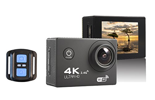 4K Ultra HD Sports Action Camera WIFI 16MP 2.0-Inch LCD Waterproof Action Camera with 170°Wide Angle Lens 2.4G Wireless Remote Control for Outdoor Sports