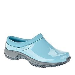 Merrell Women\'s Encore Slide Pro Shine Slip Resistant Work Shoe, Maui Blue Patent, 7 M US