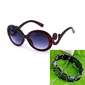 Top Plaza Women Sunglasses Retro Style, Butterfly Clouds Arms Semi-Transparent Round Vintage Sunglasses,Gentle Sunglasses, 4 Colors (Black Frame + Grey Gradient Lens)