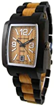 Tense Mens Two Tone Hypoallergenic Watch Walnut - Maple J8102WM (Light Face)