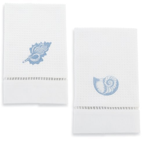 Embroidered Blue Shells Guest Towels