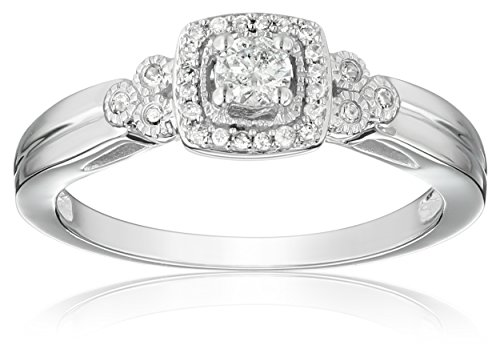 10k White Gold Diamond Engagement Ring (1/4 cttw, I-J Color, I2-I3 Clarity), Size 8