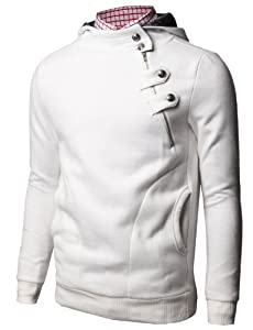 TheLees 4BH Mens Casual Luxury Buckle Hoodie Slim Cotton Sweatshirts Small &White