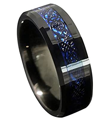 King Will 8mm Mens Blue Celtic Dragon Inlay Comfort Fit Black Tungsten Metal Ring Wedding Band