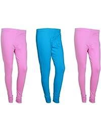 Indistar Women Cotton Legging Comfortable Stylish Churidar Full Length Women Leggings-Pink/Sky Blue-Free Size-Pack...