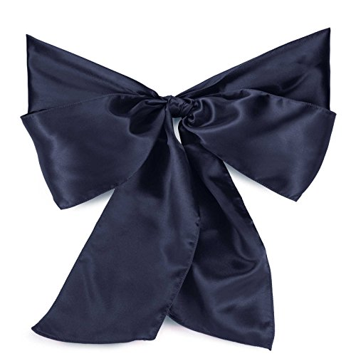 Lann's Linens Satin Chair Sashes / Bows - for Wedding or Banquet - Navy Blue - 10pcs