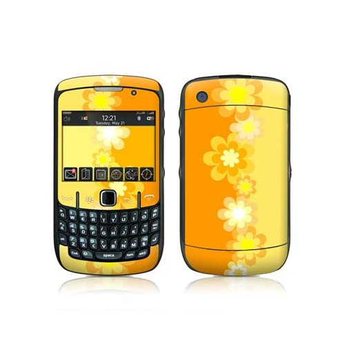 Retro Orange Flowers Design Skin Decal Sticker for Blackberry Curve 8500 8520 8530 Cell Phone