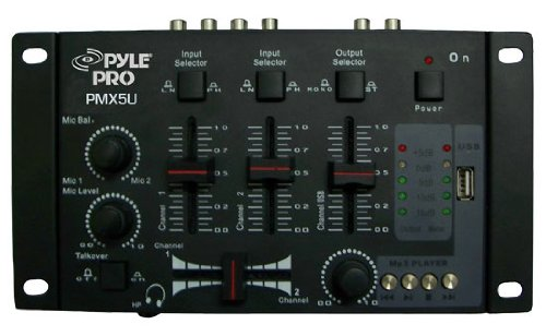 Pyle-Pro Professional 3-Stereo Channel DJ Mixer with USB  Player