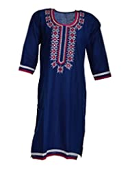 Global Women's Cotton Straight Kurta (GW57BlueE42015, Blue, 42)