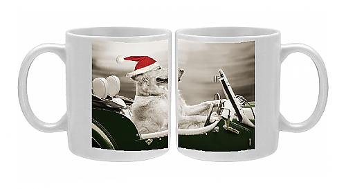 Photo Mug Of Jd-21318-M Golden Retriever Dog - In Car Wearing Christmas Hat From Ardea Wildlife Pets front-571419