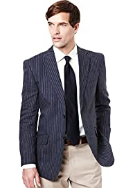 Big & Tall Collezione Pure Linen Slim Bold Striped Jacket
