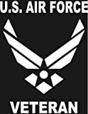 U.S. AIR FORCE VETERAN Wings logo white window or bumper sticker