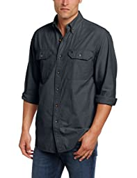 Carhartt Men\'s Fort Long Sleeve Shirt Lightweight Chambray Button Front Relaxed Fit,Black Chambray,X-Large