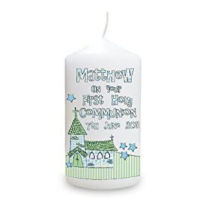 Personalised Whimsical Church Blue 1st Holy Communion Candle from Pmc