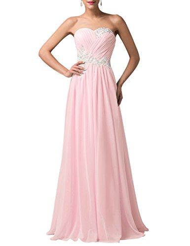 Long Pink Bridesmaid Dress Graceful Floor Length Size 8 CL6107-2