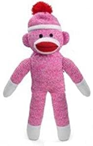 Pink Color Original Sock Monkey 11 Inches Tall at 'Sock Monkeys'
