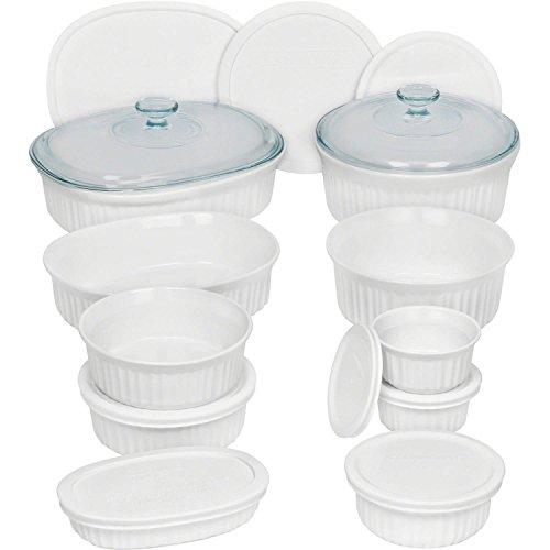 Corningware French 20-Piece Oven-To-Table Bakeware Set, Dishwasher, Refrigerator, Freezer and Microwave Safe, White
