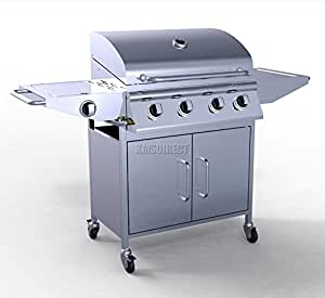 FoxHunter Garden Outdoor Portable BBQ Gas Grill Stainless Steel 4 Burner Barbecue Barbeque + 1 Side Burner With Thermometer New
