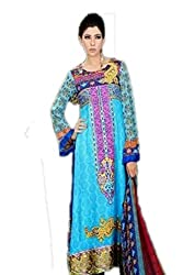 Lalas lawn blue colored dress material